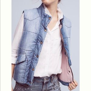 Chambray puffer vest from Anthropologie